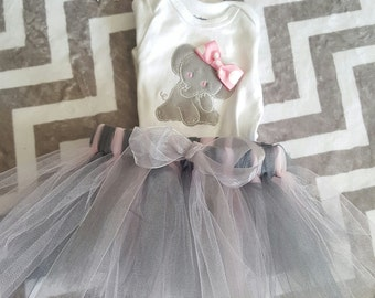 Baby Elephant Embroidered Onesie with Tutu and Bow
