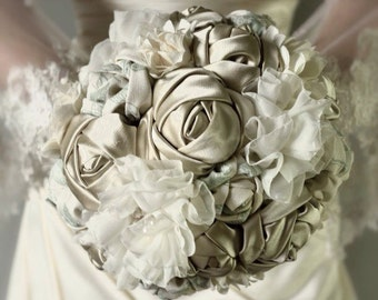 Vintage Inspired Fabric wedding Bouquet. fabric flower bouquet