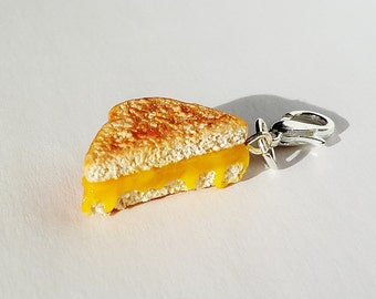 Grilled Cheese Sandwich Charm - Polymer Clay Food Grilled Cheese Charm -  Miniature Food Jewelry -  Polymer Clay Sandwich