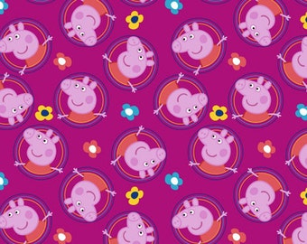 Peppa Pig - Peppa Pig Badges Fabric - Pink - sold by the 1/2 yard