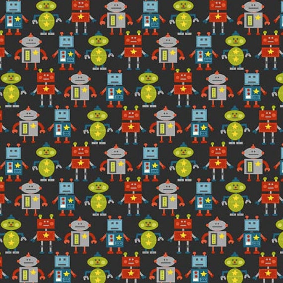 Little monsters little robots fabric charcoal sold by the for Baby monster fabric