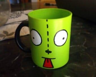 Invader Zim's Gir inspired hand painted mug