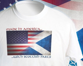Made in America With Scottish Parts, Double Flag T-Shirt