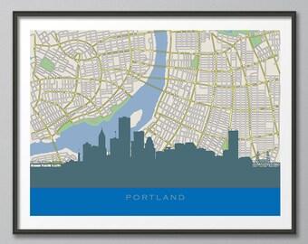 Skyline Print, Portland Skyline, Portland  Map Art, Portland Skyline Art, Portland Travel Map, Portland Print, Home Decor, Skyline Wall Art