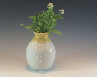 Small White and Yellow Pottery Bud Vase - Milk Glass Pottery Vase - Ceramic Pottery Vase - Bud Vases