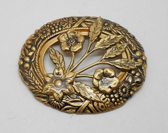 Vintage Antiqued Gold Flower Brooch