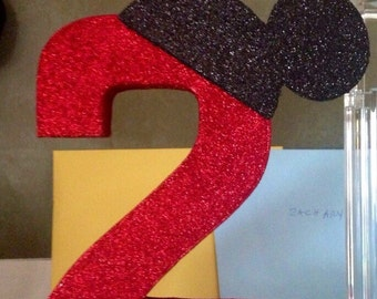 Mickey Glittered Number
