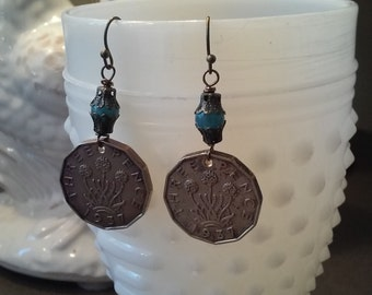 Vintage British Three Pence 1937 Coin Dangle Earrings/Czech Glass Beads