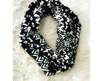 Black and White Tribal Print Infinity Scarf