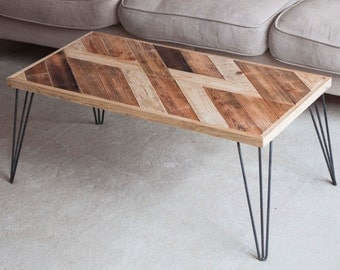 Wooden Coffee Table - Hairpin Legs Table