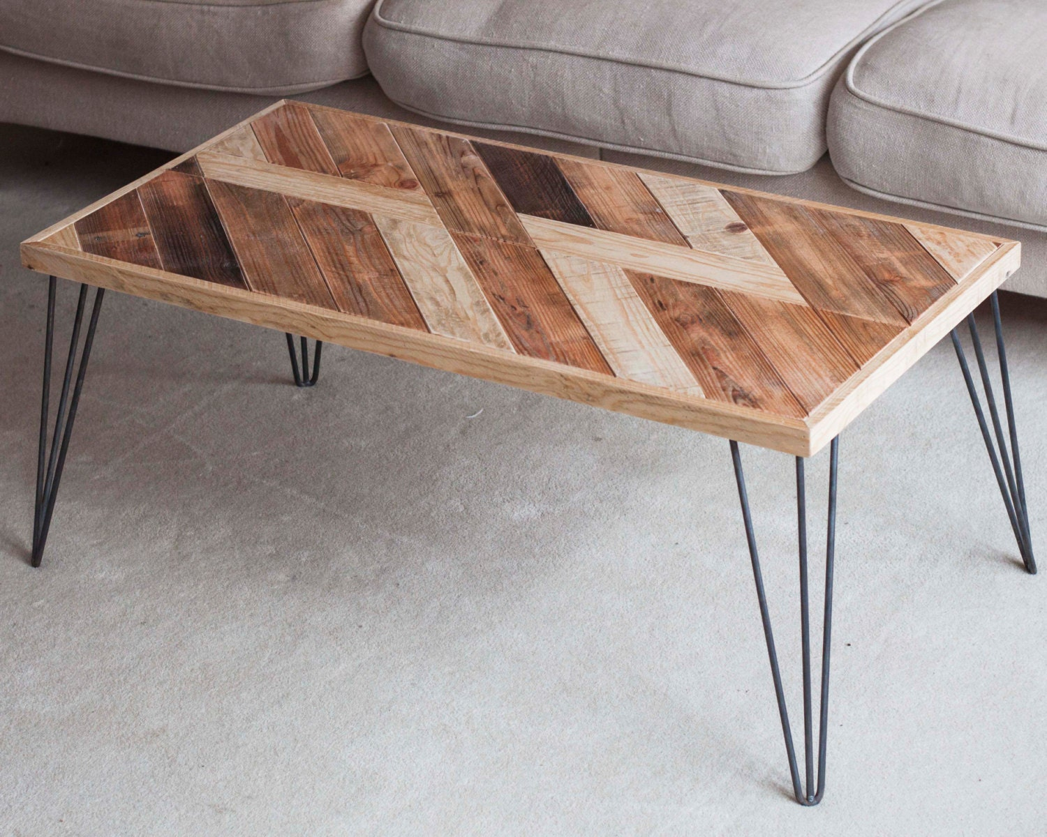 Wooden Coffee Table Hairpin Legs Table