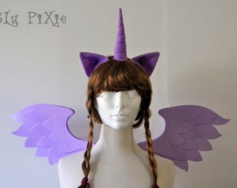 Twilight Sparkle Set (Pony Wings, Ears, Horn) My Little Pony Halloween Costume, Kids and Adult Brony Cons Cosplay Accessories