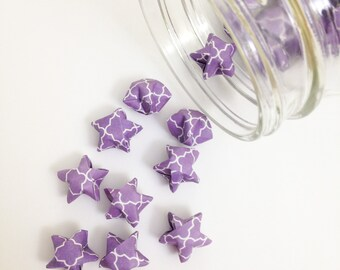 48 Purple Origami Stars: Lilac - Lavender - Moroccan Tile - Mini Stars - Origami Star Decorations - Folded Paper - Baby Shower - Lucky Stars