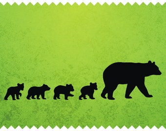 Bear Mother and Four Cubs- svg- ai- dxf- cdr- pat- jpeg- png- pdf- wmf- docx- Printable Clipart - Iron on Transfer -  Laser Cuttin Engraving