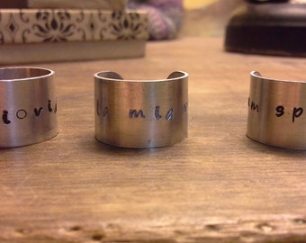 Custom Personalized Ring Band - Metal Stamped in Latin, veni vidi amavi (we came we saw we loved) - Gifts for Her, Bridesmaid Gifts