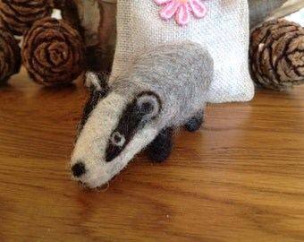 Needle felted badger with hand crafted lined linen gift bag