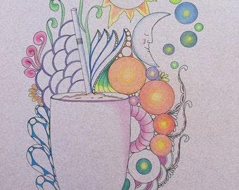 Zentangle coffee art, coffee art,mug art,Zentangle art,colored zentangle,wall art,wall decor,ink colored pencils,