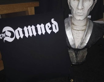 The DAMNED t shirt print CUSHION punk rock goth vanian upcycled