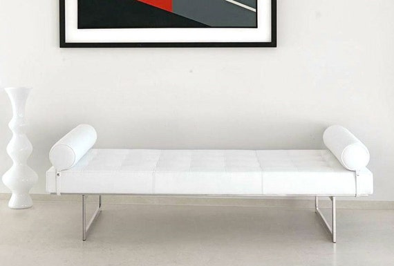 Tufted day bed sofa bench chaise lounge club chair by besofia for Leather daybed bench