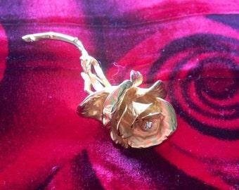 "Vintage Desiner Gold Tone E. Pearl Rose Pin 3"""