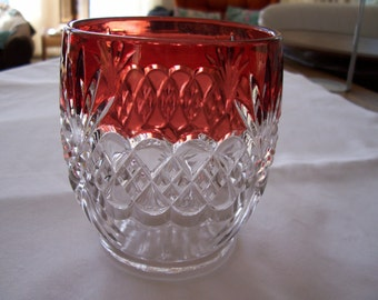 Glass vase with wine colored edging