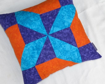Clearance Sale 25% off! Pinwheel Quilted Throw Pillow, Quilted Throw Pillow, 16X16 Pillow,