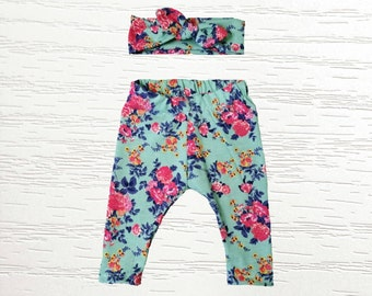 Mint and Fuchsia Floral Legging with AVAILABLE matching headband or beanie, customer favorite, newborn baby girls, toddler children clothing