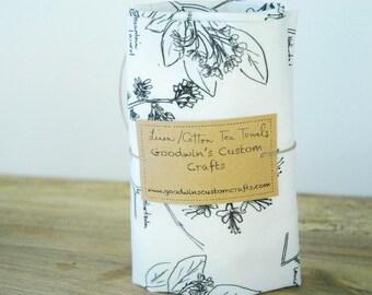 MOTHER'S DAY GIFTS, Linen Tea Towel - Large Botanical Sketch