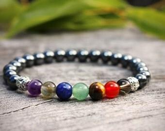 7 Chakra Bracelet, Hematite Bracelet, Chakra Bracelet, Yoga Bracelet, Gemstone Bracelet, Meditation Bracelet, Energy Bracelet, Wrist Mala,