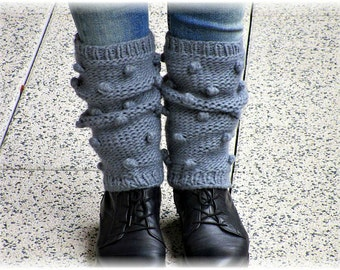 Knit leg warmers Gray leg warmers Knitted legwarmers Wool leg warmers Chunky legwarmers knit leg warmer Wool warmers Dance socks Boot socks