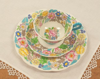 Royal Albert Jacobean Demitasse/Tea Trio ~ Cup/Saucer/Dessert/Salad/Plate ~ Hampton Blue/Turquoise ~ Bone China Made in England