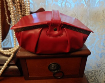 Small Faux Leather Red Vintage Handbag