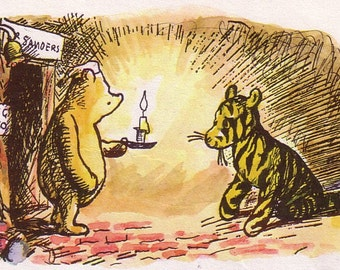 1986 winnie the pooh print with tigger by E H Shepard