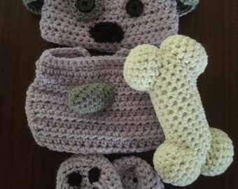 Puppy Dog Baby Girl Gift Set -Crochet Puppy Hat - Purple Baby Booties - Baby Girl Diaper Cover - Puppy Dog Hat for Baby - Newborn Photo Prop