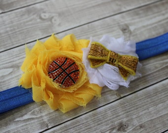 Golden State Warriors inspired headband, Warriors inspires baby headband, Blue and gold basketball headband