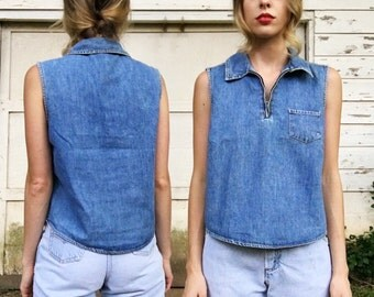 Vintage Light Denim Blue Jean Collared Zip Oversized Tank Top Blouse M