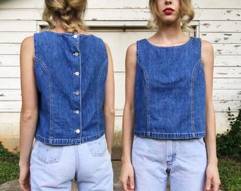 Vintage Mid Blue Denim Jean Back Button Up Structured Tank Top Blouse S