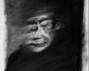 Figurative Charcoal Drawing 'Hit Me'  - Giclee Print -