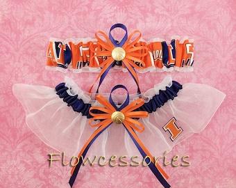 Pick Charm - University of Illinois Fighting Illini U of I handmade bridal wedding garter - keepsake garter set