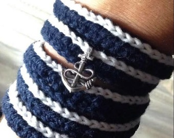 Anchor, Wrap bracelet, Anchor bracelet, Bracelet, Boho wrap bracelet, Bohemian wrap bracelet, Crochet bracelet, Anchor wrap bracelet