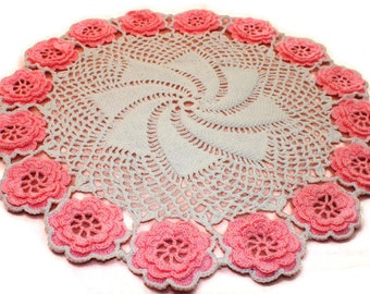Rose Doily ~ Handmade Doily ~ Cotton Doily ~ Crochet Doily ~ Home Decor ~ Flower Doily ~ Doily ~ Vintage Doily