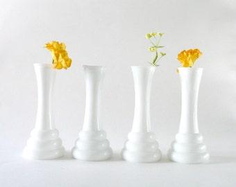 Vintage Milk Glass Vases--Set of 4