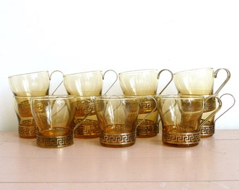 Vintage Mid Century Amber Glass Mugs with Gold Metal Handles--Set of 11