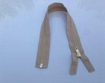 "Shiny brass #4 zipper open end 15"" available in Beige"