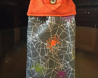 Halloween hanging dish towel with spiderwebs and spiders