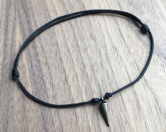 Adjustable Bronze Thorn Dagger Spike Sliding Knot Bracelet W/ Black Nylon Cord