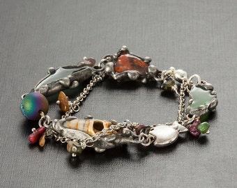 Original Sea Glass Layering Soldered Bracelet, Tiffany Technique Gemstone Tourmaline Multicolored Bracelet, Shell and Beach Glass bracelet
