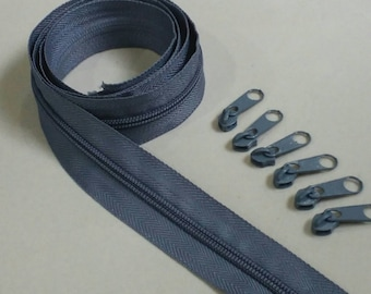 3 Yards  Zipper # 5 with Free 6 Pulls, Gray Zipper by the Yard, Zipper # 5, Zipper by the Yard.