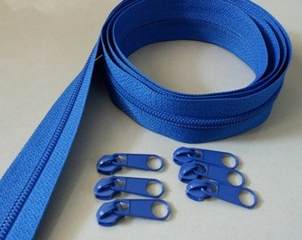 3 Yards  Zipper #5 with Free 6 Pulls, Blue Zipper by the Yard, Zipper # 5, Zipper by the Yard.