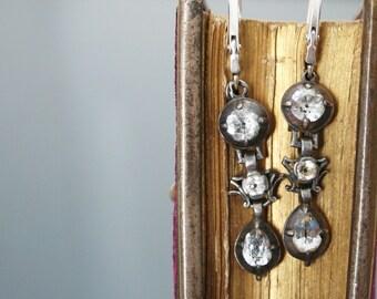 1800's Silver 950 Georgian Black Dot Paste Dangle Earrings. Gold 18k. Rococo Marie Antoinette Jewelry